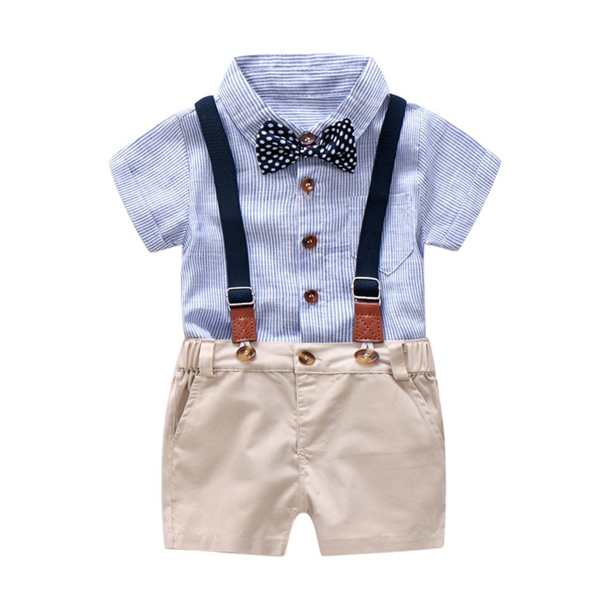 Gray, 6 Month Newborn Kids Boys Summer Bowtie Short Sleeve Shirt+Suspenders Shorts Set