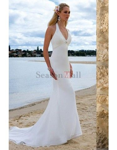 Elegant Mermaid Style Halter Long White Wedding Dresses For Beach