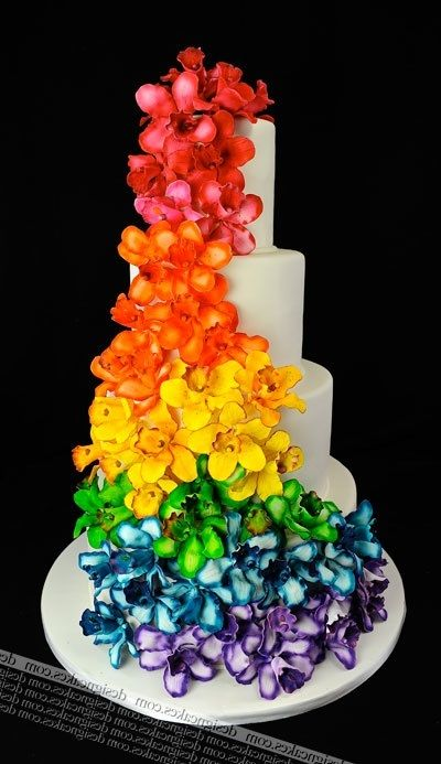 rainbow flower wedding cake rainbow wedding cake www thegailygrind rainbows are 18958
