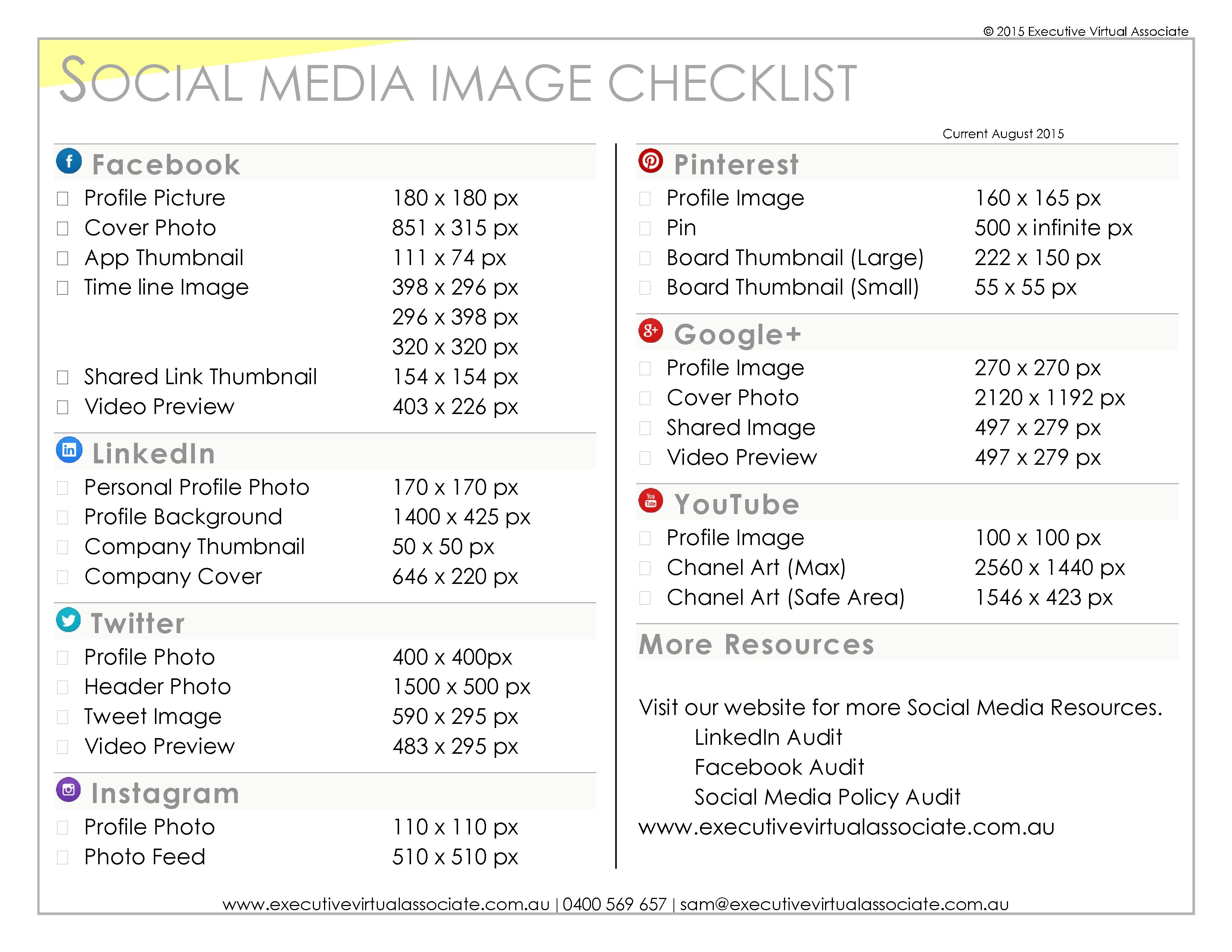 Social Media Image Checklists - helping you define the optimum image