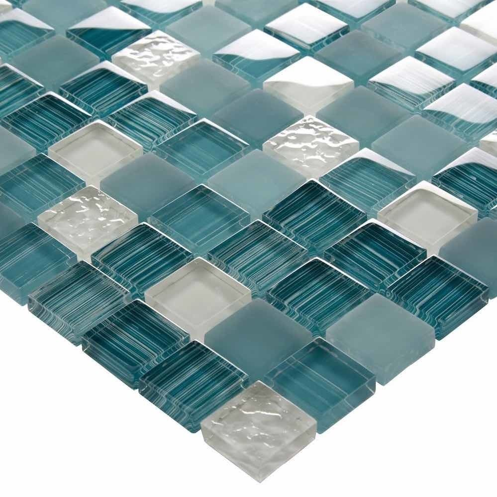 Glass Mosaic Tile Clear Turquoise Blend 1x1 Glass Mosaic Tiles Simple Bathroom Decor Mosaic Glass