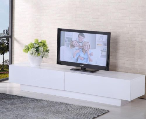 TV Cabinet White Or Black Entertainment Unit Stand Gloss LED Lowline Shelf  TV10