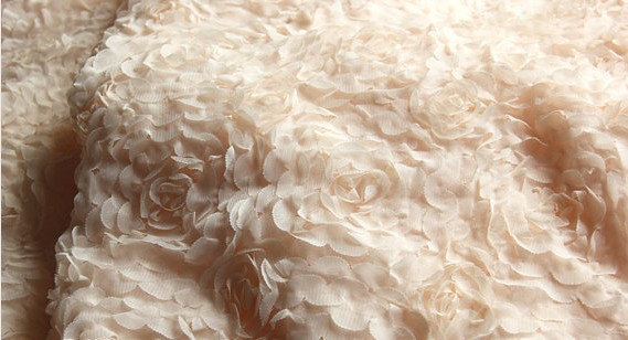 Nude Rosette Chiffon Lace Fabrics for Wedding Dress Fabric Bridal ...
