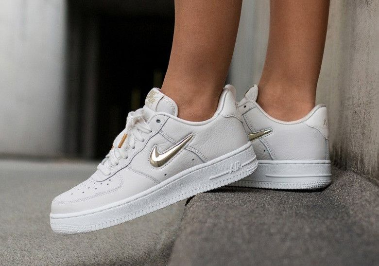 2a47a8bacd91 Nike Air Force 1 Low Gold Jewel Swoosh Photos  thatdope  sneakers  luxury   dope  fashion  trending