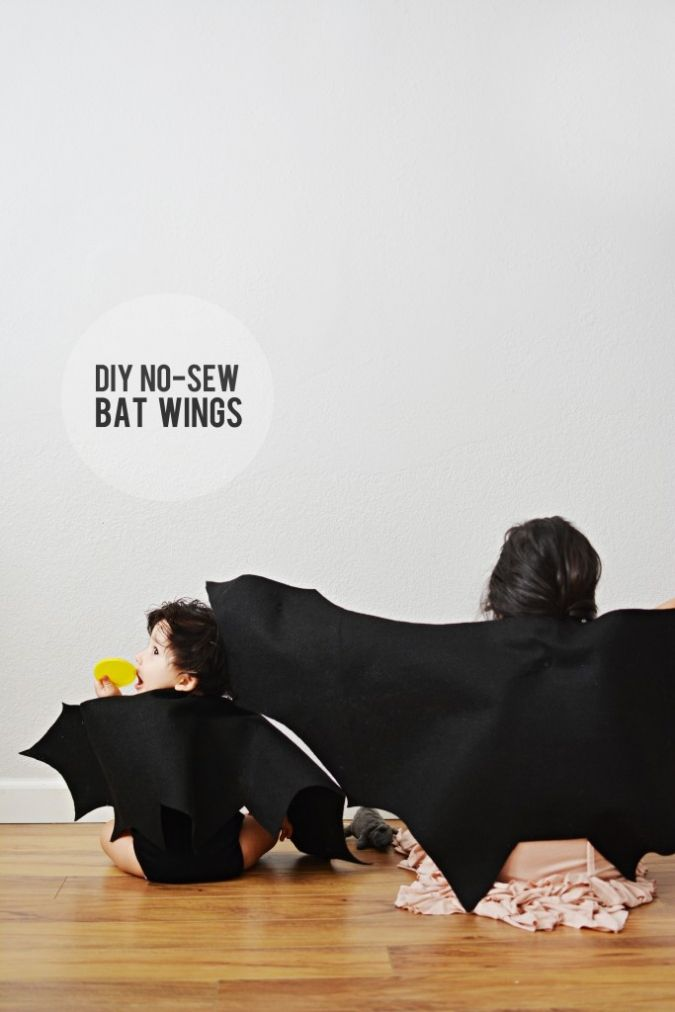 No sewing skills required for these DIY bat wings! (And let's be honest, who wouldn't want some bat wings to wear around the house?)