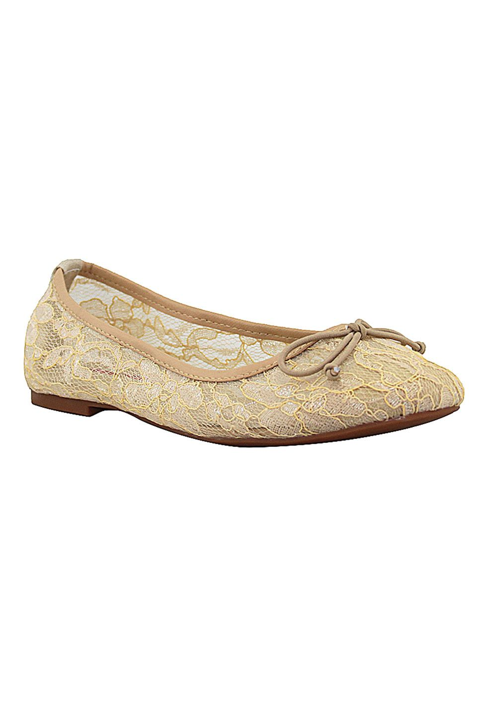 c label Lora 7E Ballet Lace Flats in Cream - Beyond the Rack