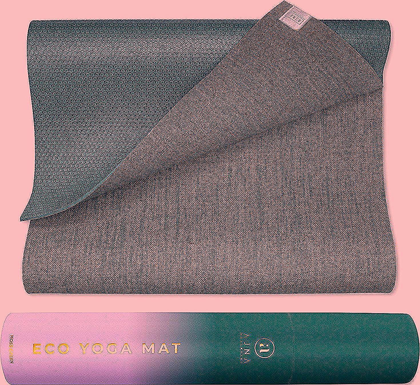 Ajna Eco Organic Yoga Mat - Natural Jute Yoga Mats - Large Non Slip - Reversible Jute PER - Carrying...