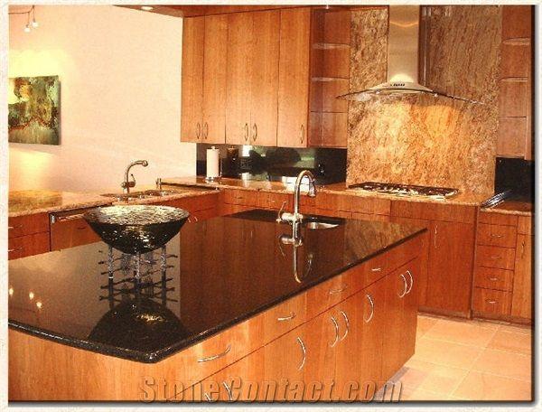 Custom Kitchen   Brazil Black Granite, Via Lactea Black Granite Kitchen  Countertops
