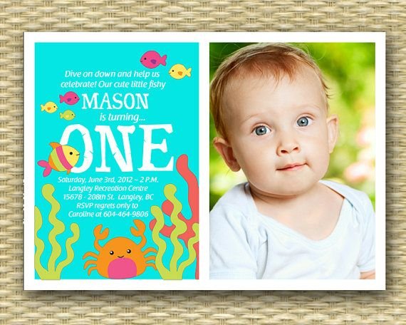 Custom 1st Birthday Invitation Under the Sea Photo Card – Custom 1st Birthday Invitations