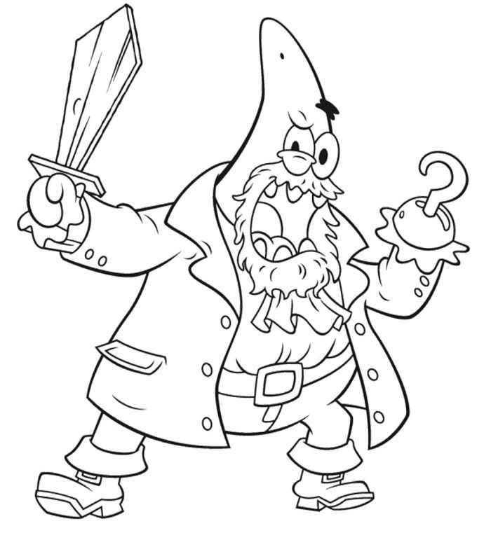 Patrick Be a Pirate Coloring Page Coloring Page Pinterest
