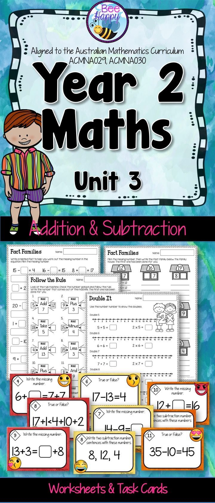 Year 2 Maths Unit 1 Number Sequences Worksheets and Task Cards ...