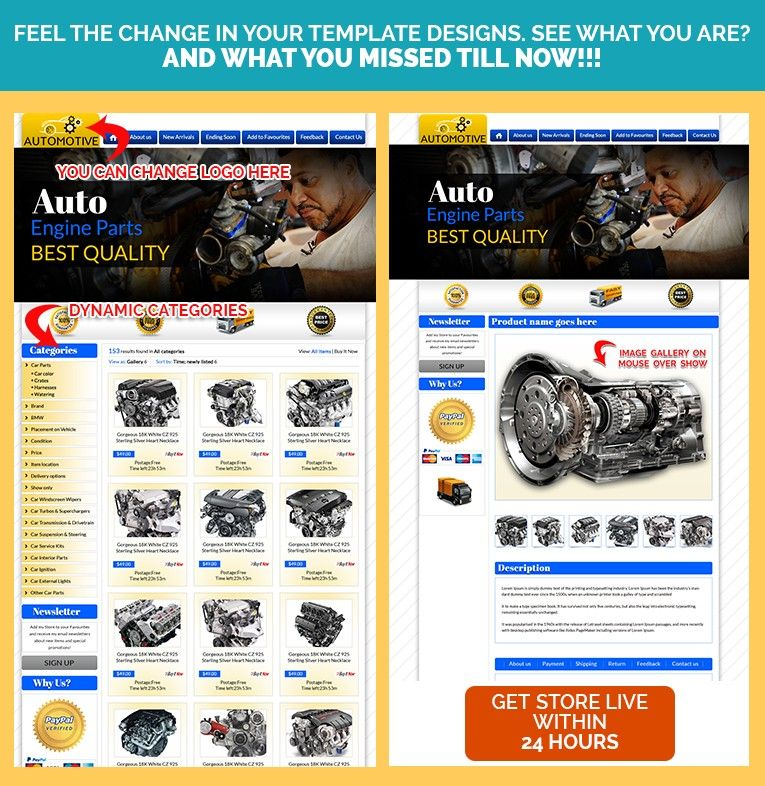 Auto Parts Professional EBay Templates Item Description Template - Ebay item description template