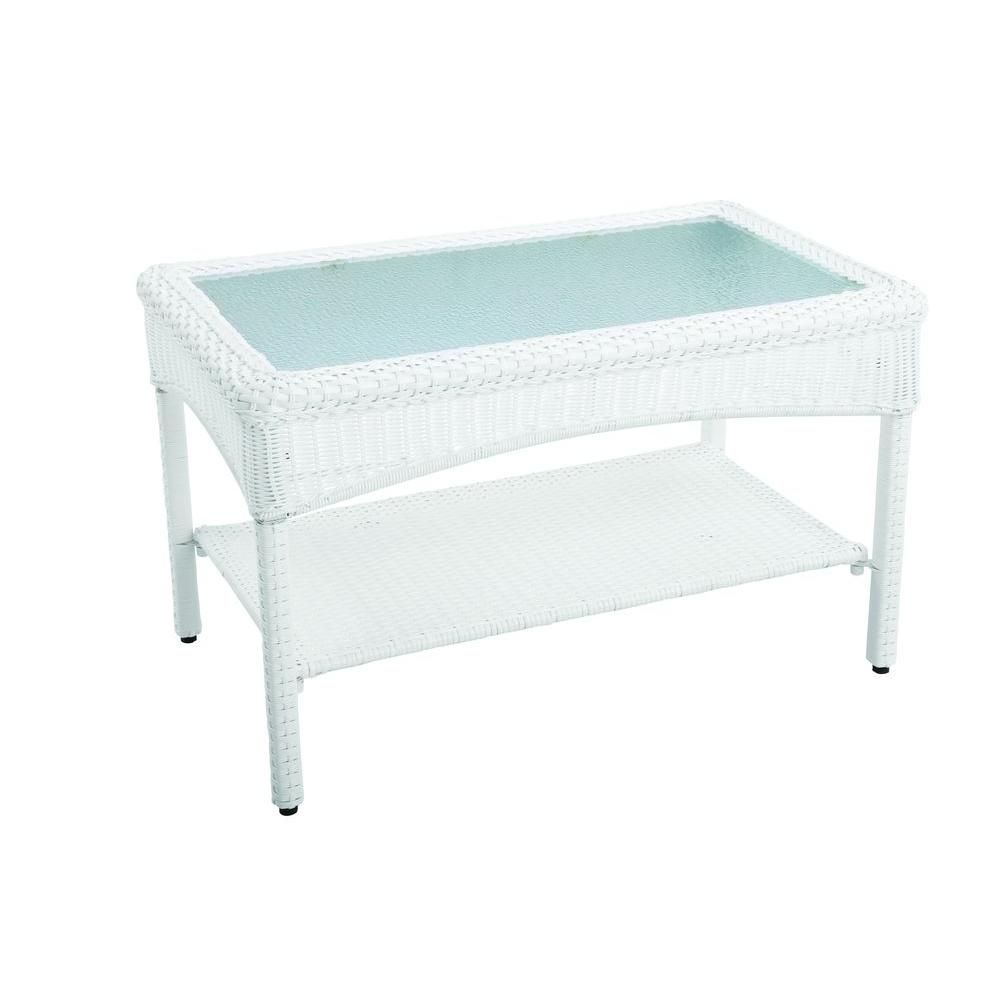 Martha Stewart Living Charlottetown White All Weather Wicker Patio Coffee  Table