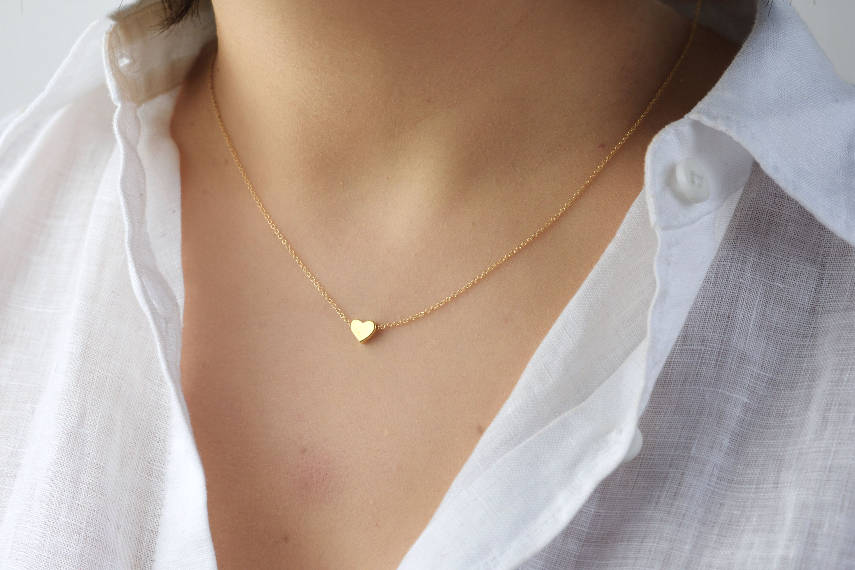 Gold Heart Necklace Simple Necklace Gift necklace Modern Necklace Delicate Necklace Gold Vermeil Necklace Set Dainty Heart Necklace