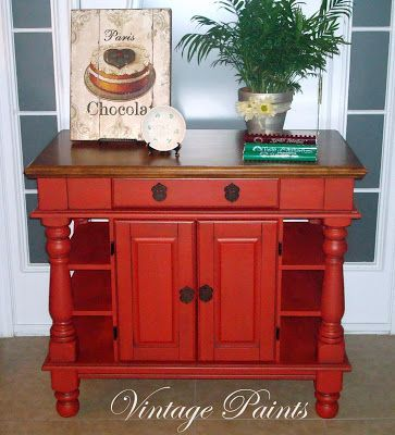 Farmhouse Red Kitchen Island   Glazed, Furniture From Paints In Orlando, FL.