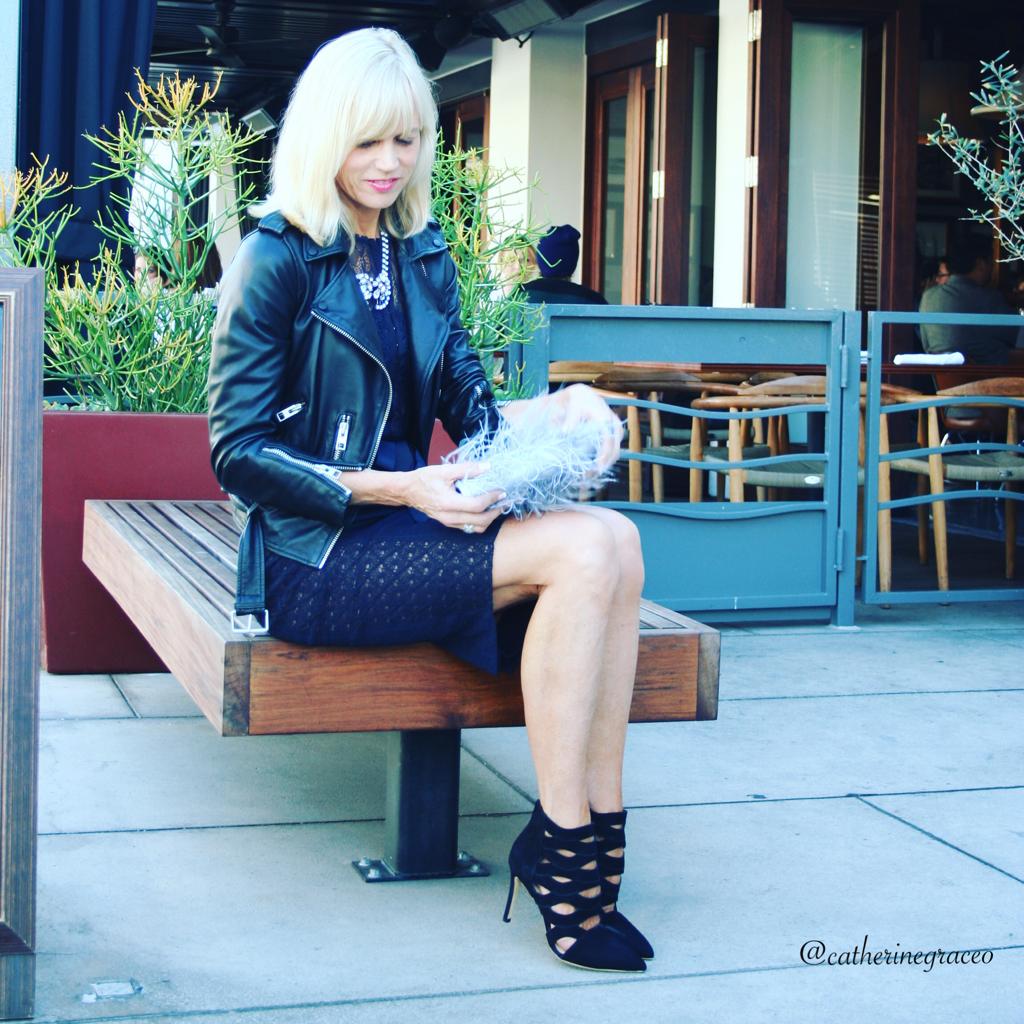 Bryon Lars Anthropologie dress, Loeffler Randall black suede cut-out heels, Anthropologie clutch