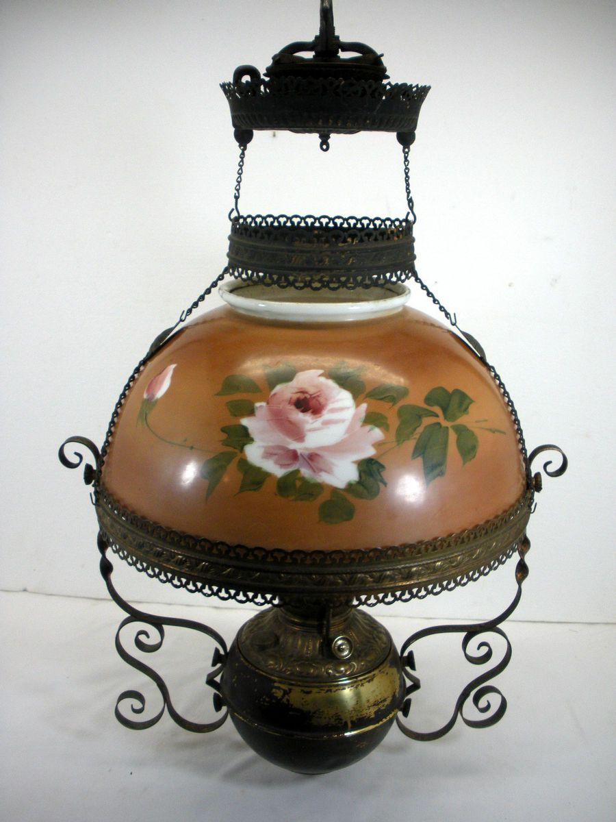 Antique Hanging 1800s Library Victorian Miller Oil Lamp Brass Font Oil Lamps Lamp Glass Lamp