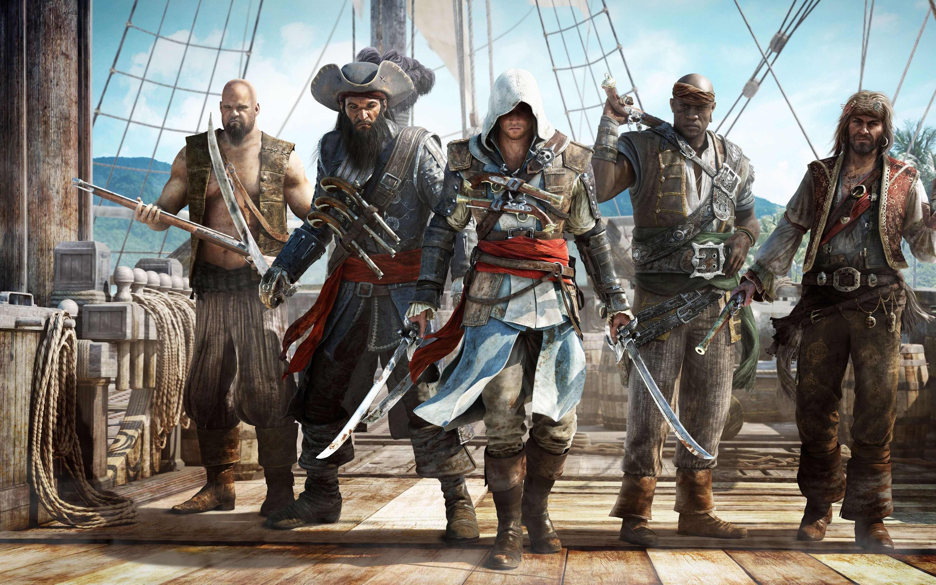 Download Wallpaper 3840x2400 Assassins Creed Black Flag Pirates 4k Ultra Hd 16 10 Hd Background Seni Mobil
