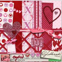DigiKit - Glitterati: Cupid By Betsy Tuma      You are sure to LOVE this free kit! 6 sparkly papers, 7 cute elements and a complete alpha that will leave you dazzled and lovestruck.