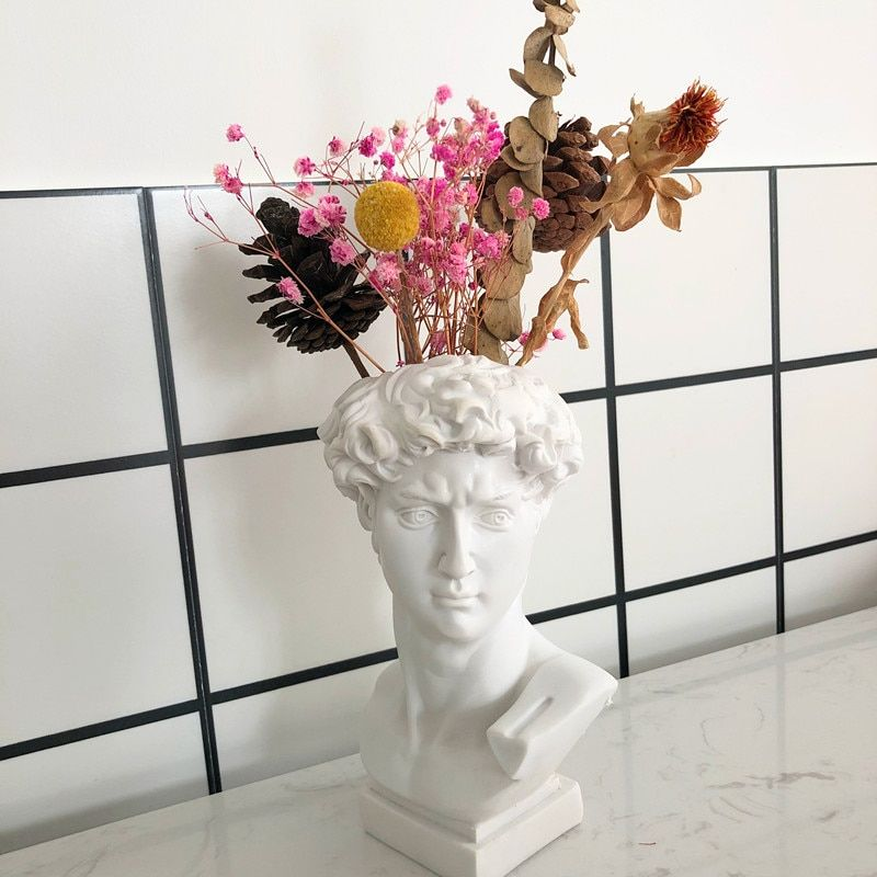 17cm modern Nordic Creative Portrait vase Human head Decorative ornaments Resin David Venus Vase Home decoration accessories