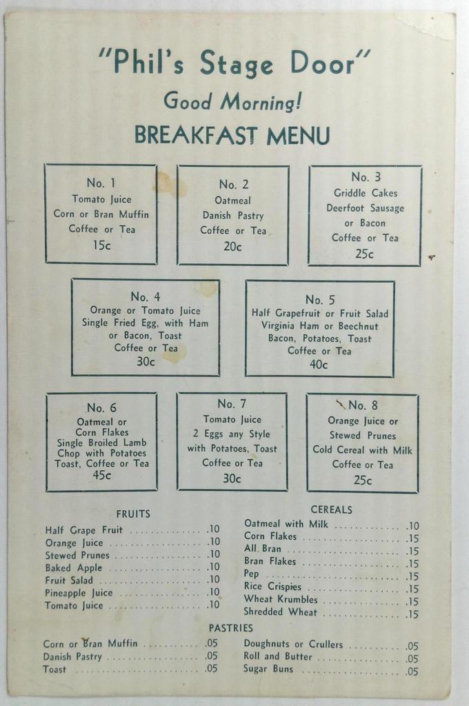 1930 S Original Breakfast Menu Card Phil S Stage Door Restaurant 1930s Breakfast Card Door Menu Original Phils In 2020 Breakfast Menu Menu Cards Menu Card Design