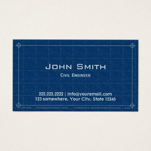 Construction Blueprint Civil Engineer Business Card Construction
