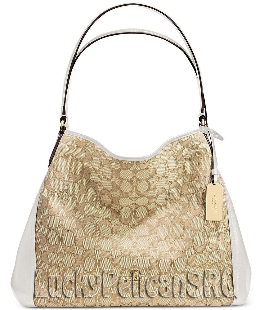 48cb7c745382 COACH 36466 EDIE SHOULDER BAG 31 SIGNATURE JACQUARD GOLD CHALK BEIGE NWT   Coach  ShoulderBag