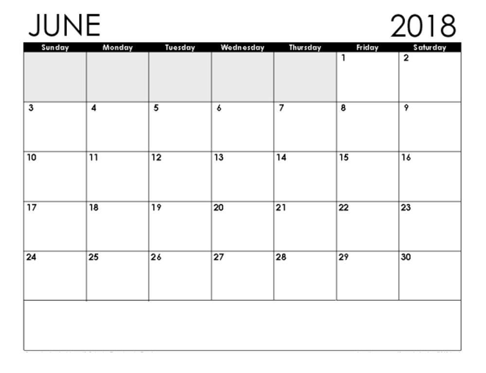 Blank Calendar June 2018 Food Calendar, Blank calendar, Calendar
