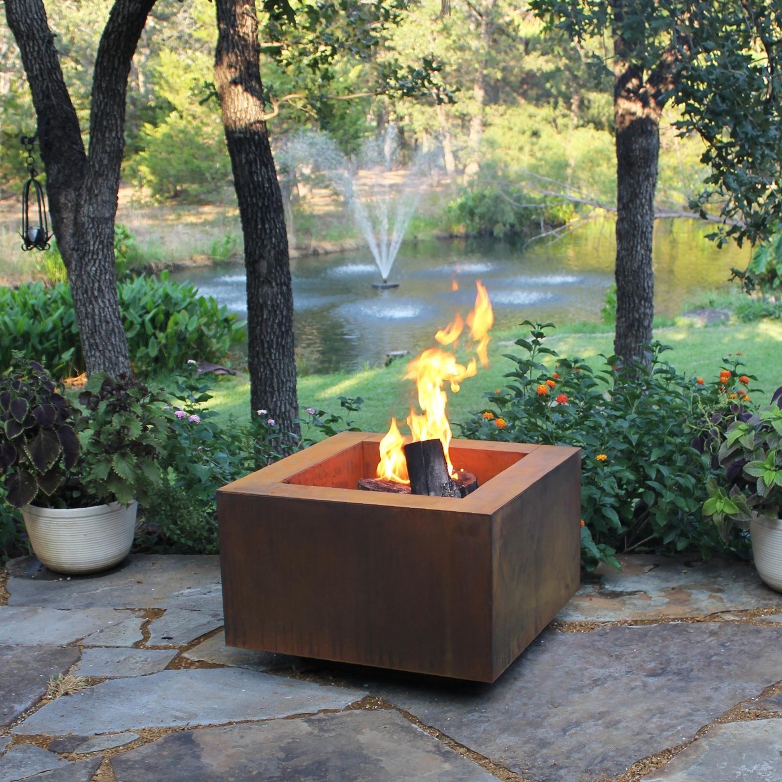 30 Square Cor Ten Steel Fire Pit Steel Fire Pit Fire Pit Backyard Square Fire Pit