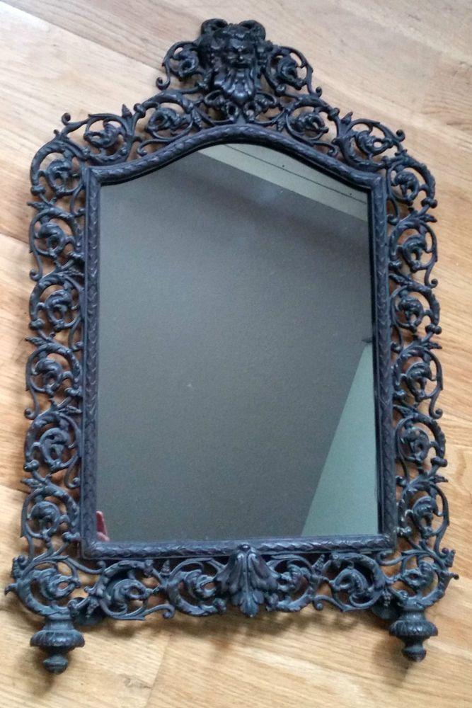 Antiker Standspiegel, Wandspiegel, Bilderrahmen Gusseisen Mirror ...