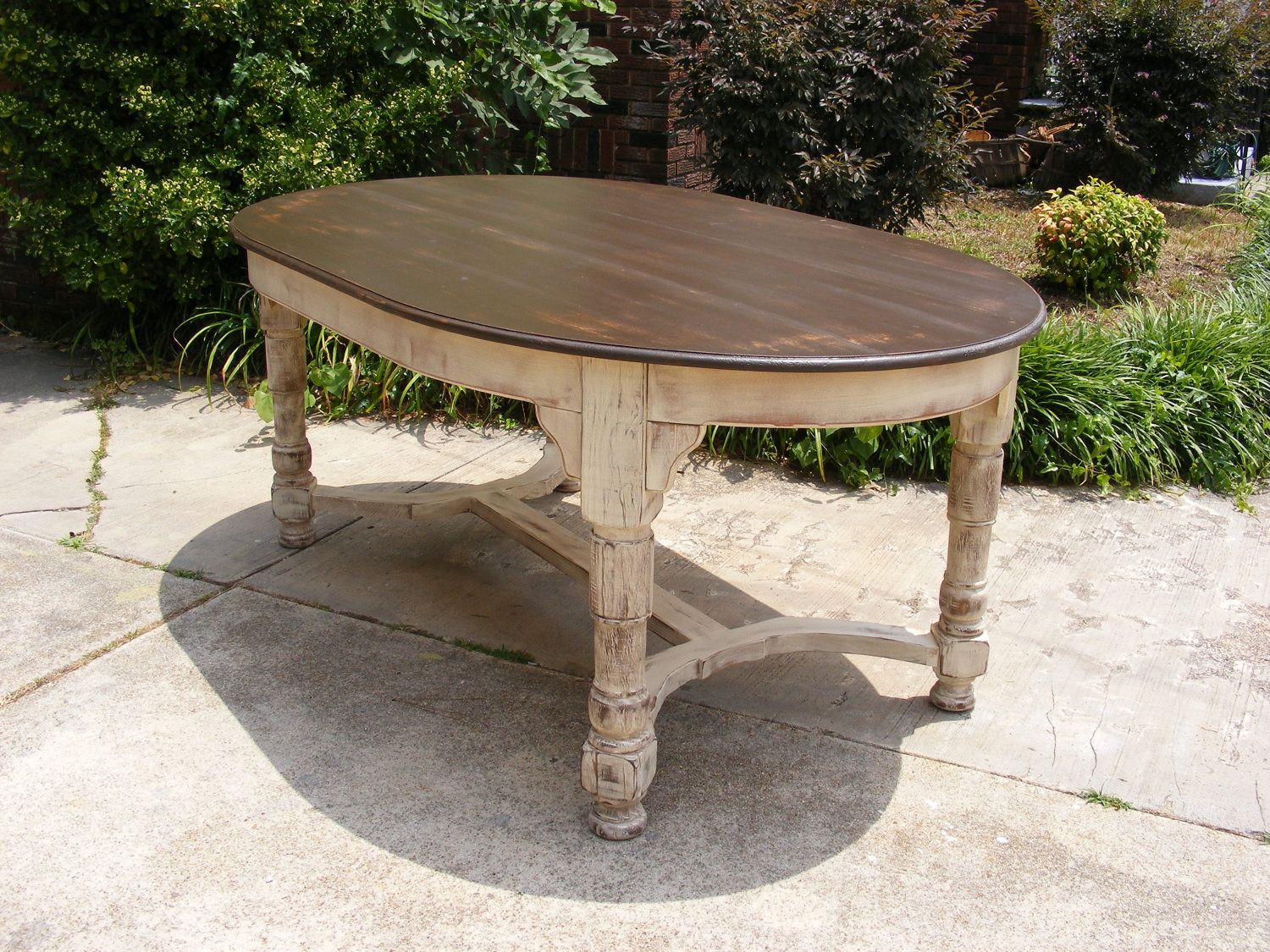 Oval Dining Table Completely Handcrafted Distress Brown Top And Distressed  Ivory Bottom Redo Inspiration!