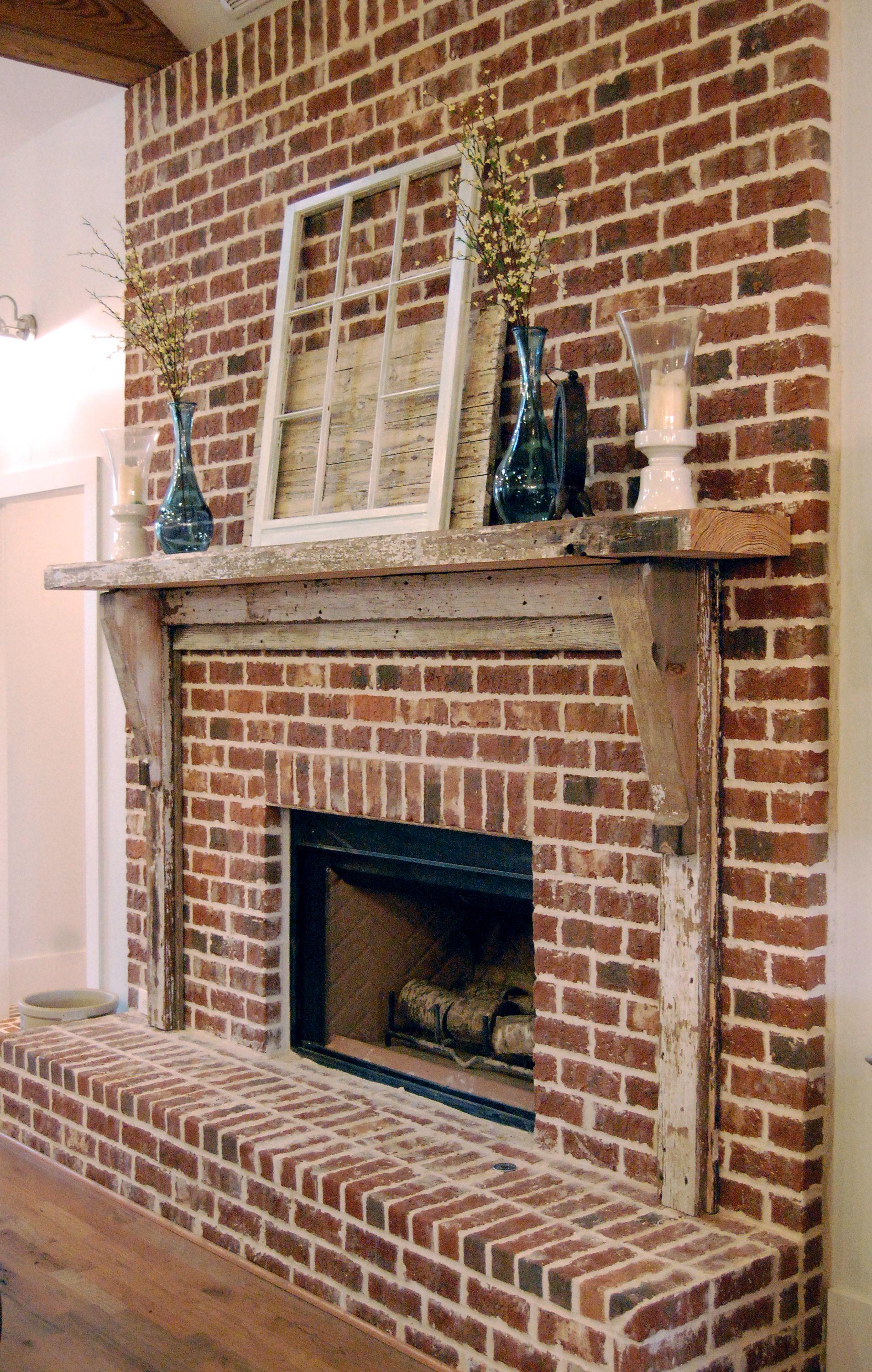 Reclaimed Wood Fireplace Mantel Designed By The Fresh Collaborative Brick Fireplace Decor Fireplace Garden Farmhouse Fireplace