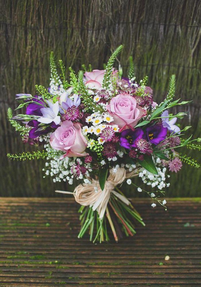 Rustic Wild Purple Wedding Bouquets Blumenstrauss Hochzeit