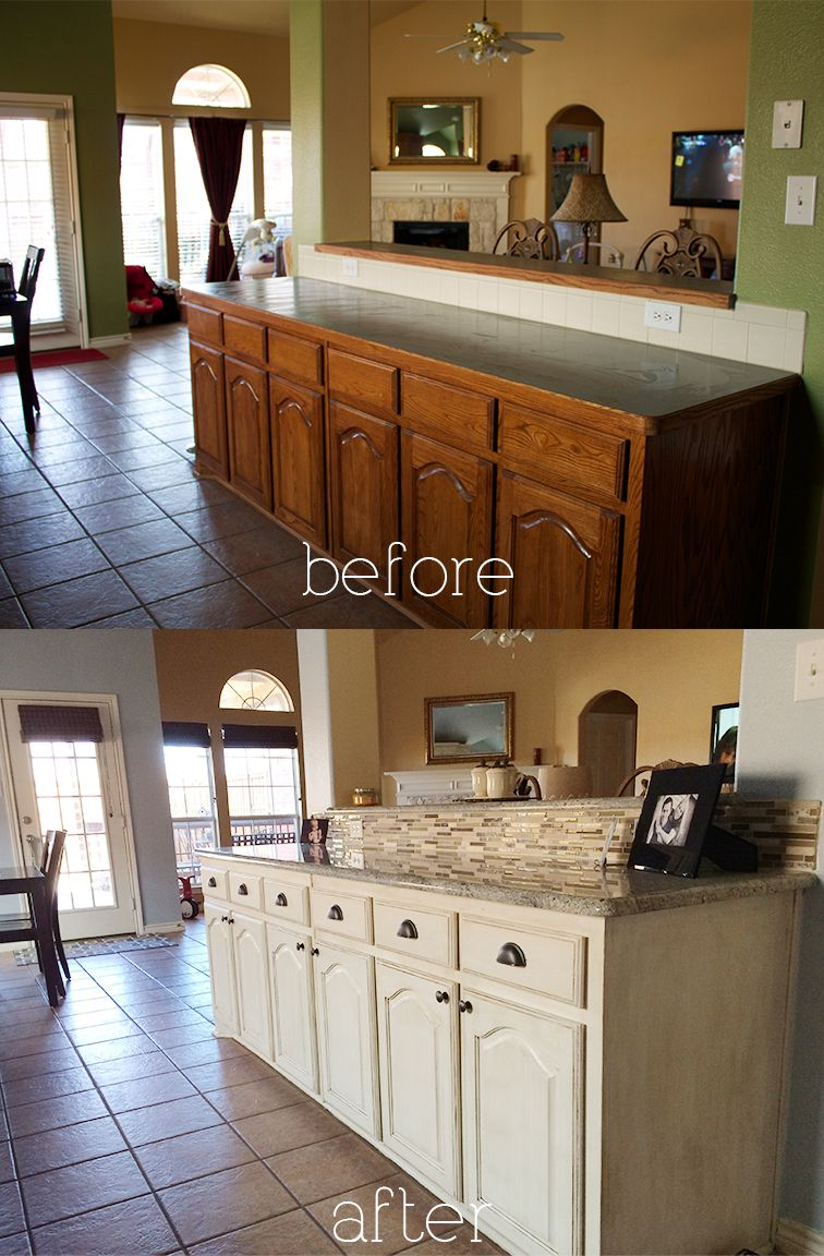 B a kitchen diy antique glaze cabinets kashmir granite for Ideas to redo old kitchen cabinets