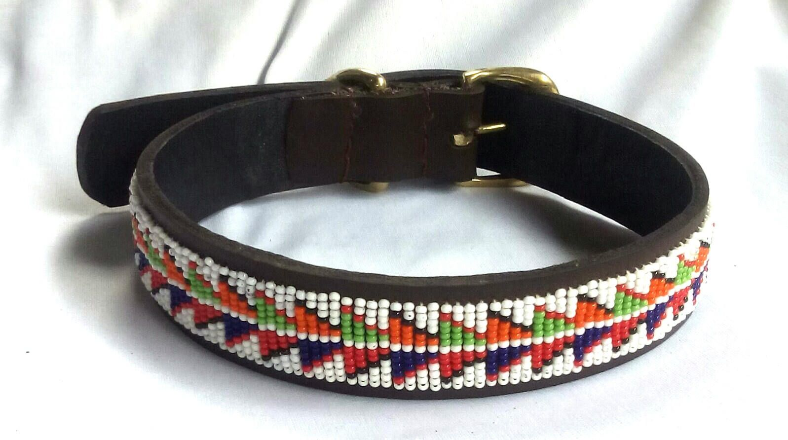 Leather Beaded Pet Dog Collar Beaded Dog Collar African Beaded