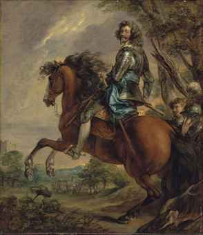 Thomas Gainsborough, R.A. (Sudbury, Suffolk 1727-1788 London)   Equestrian portrait of Albert, duc d'Arenberg, prince of Barbonçon (1600-1674), in armour, with a blue sash, in a wooded landscape, a battlefield beyond, after Sir Anthony van Dyck  oil on canvas   38 1/8 x 33 in. (96.7 x 83.7 cm.)