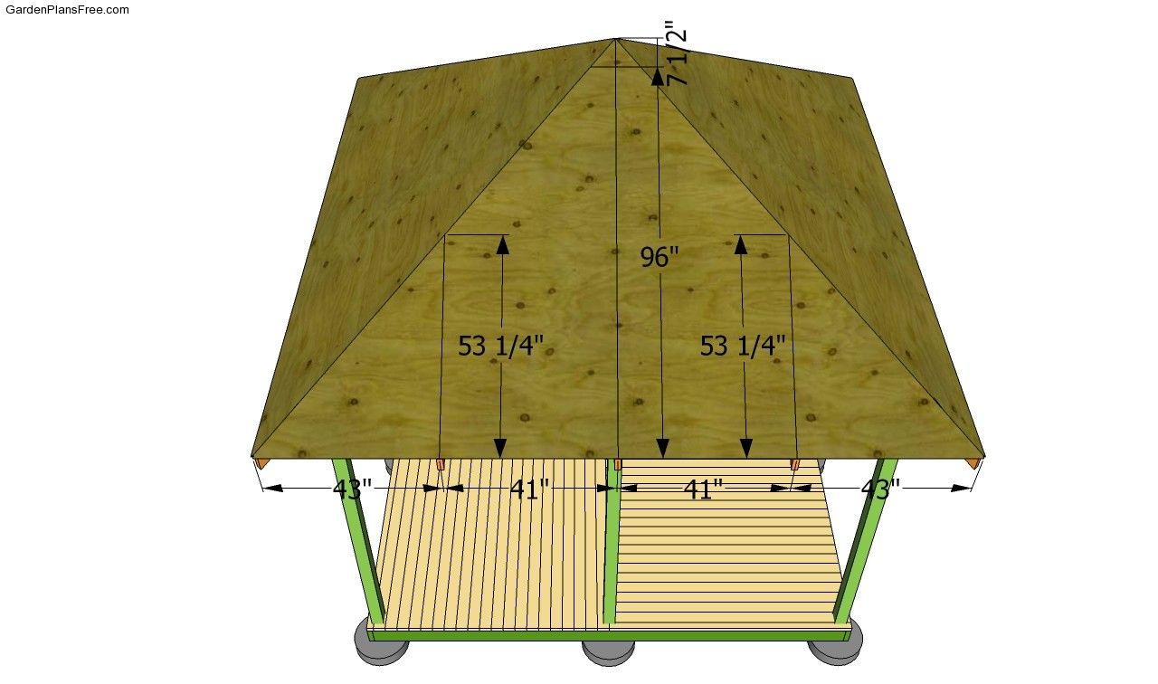 Attaching The Plywood Sheets Gazebo Roof Gazebo Plans Roof Plan
