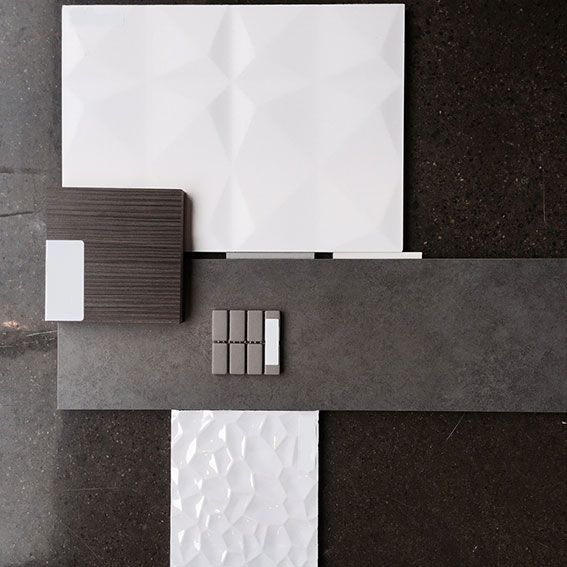 Palette de mat riaux pour une salle de bain une for Materiaux plafond salle de bain
