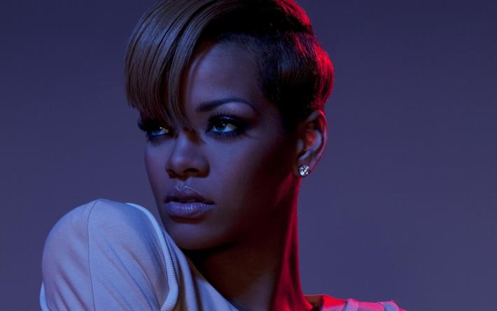 Lataa kuva Rihanna, Muotokuva, lyhyt aliarvostus, American kuuluisa laulaja, make-up, Robyn Rihanna Fenty