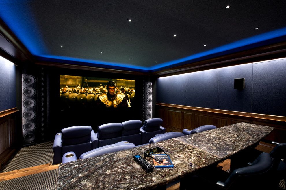Gorgeous surround sound speaker stands in home theater traditional