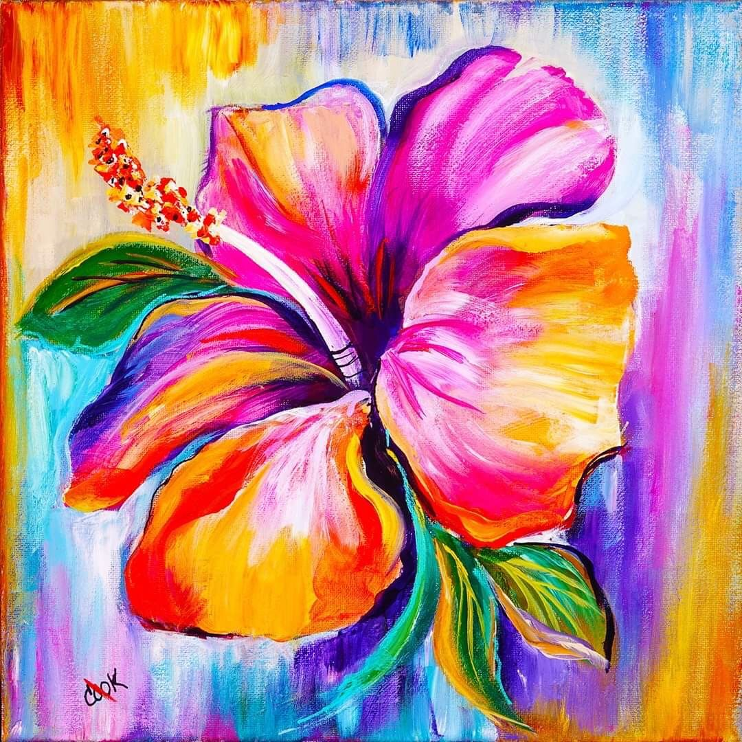 Learn To Paint A Rainbow Hibiscus With Acrylic Paint Step By Step