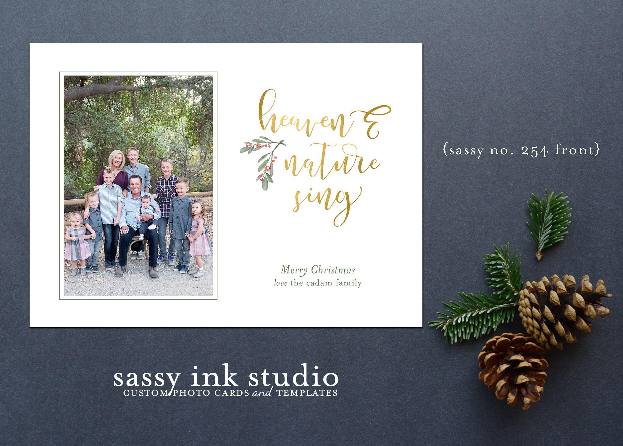 Heaven Nature Sing Customized Christmas Photo Card Printable