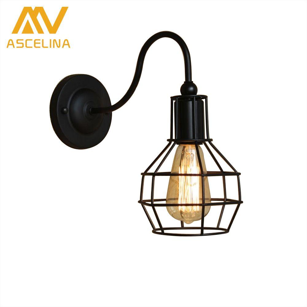 Ascelina american village vintage wall lamp loft style decorative