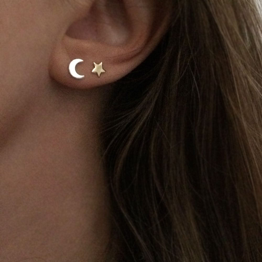 Star And Moon Stud Earrings Moon Star And Piercings