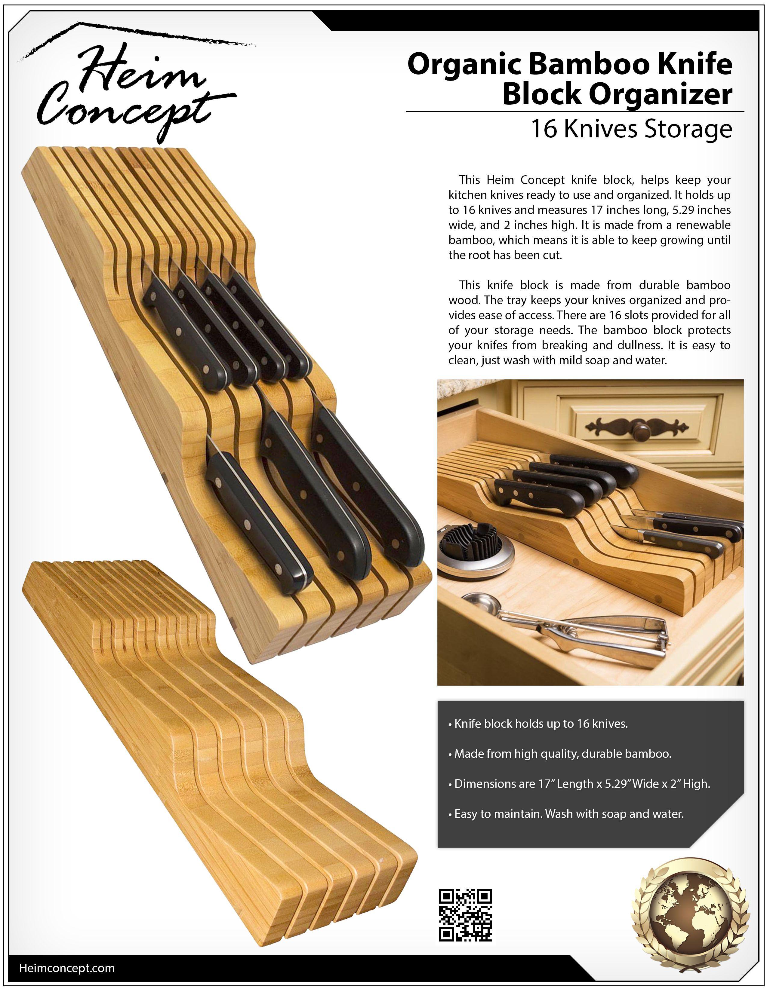 Organic Bamboo Knife Block Organizer, Heim Concept In  Drawer Premium  Bamboo Wood Knife Storage