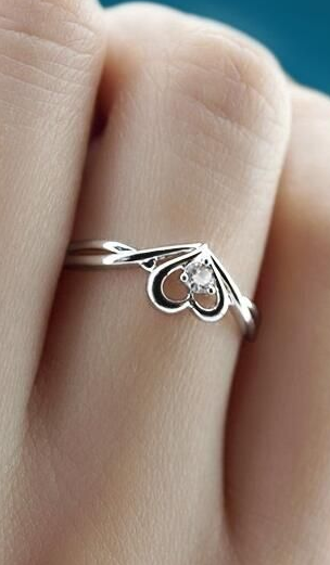popular sweetheart and cubic zirconia promise ring in silver