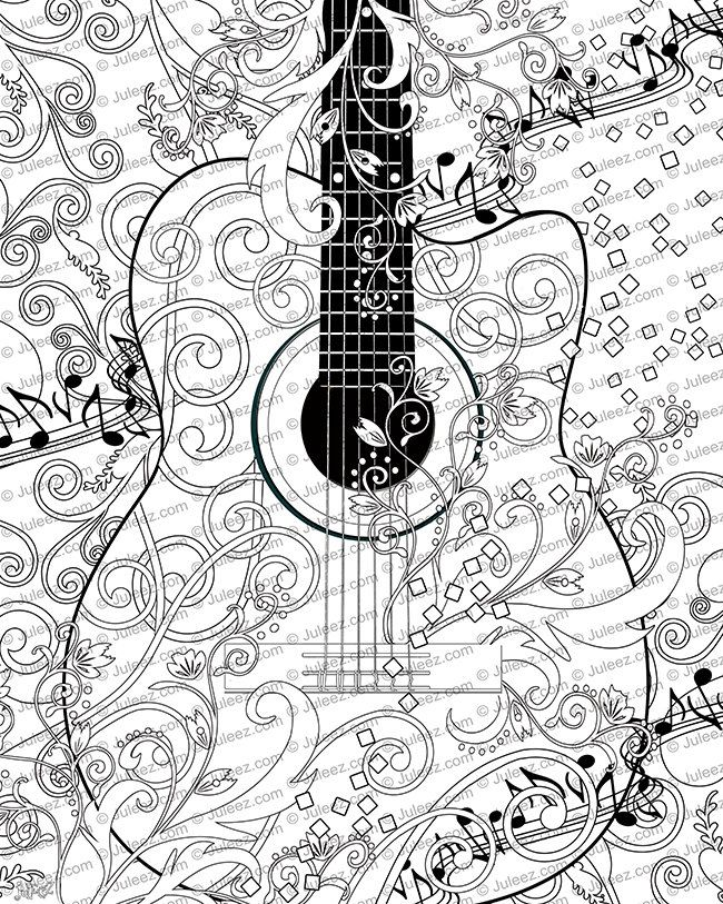 Coloring Poster, Printable, Music Coloring Poster, Instant ...