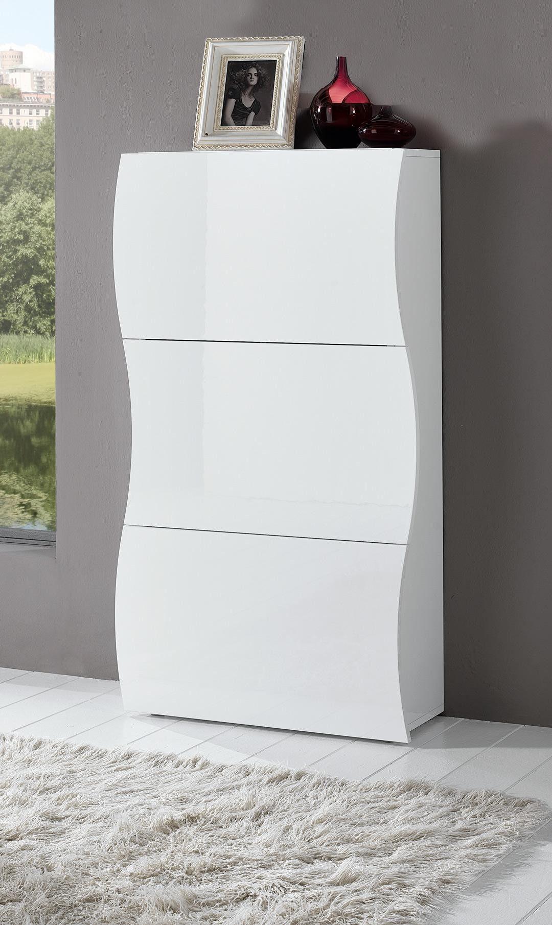Meuble Chaussures Design 3 Portes Laqu Blanc Onida Design Pas  # Modeles De Buffet Bas Blanc Laque Design