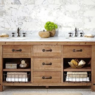 pottery barn benchwright double sink console wax pine finish rh pinterest co uk distressed wood bathroom vanity mirror distressed wood bathroom vanity mirror