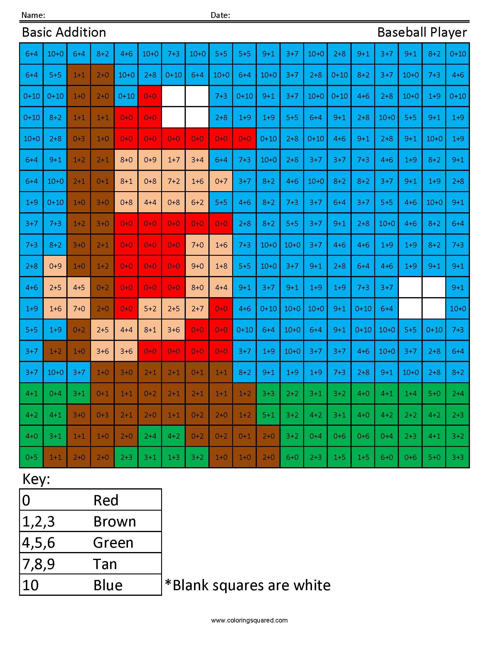 Practice Addition- Baseball Player | NPR Camps | Pinterest | Math ...